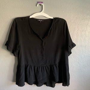 Madewell black button down silk blouse sz XL